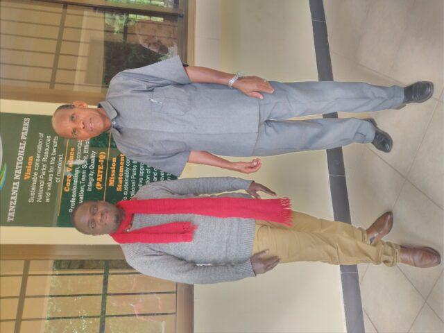 The head of Karatu high school(Mr. M.M Anney ) with Mr. A Bange (A mathematics teacher) Visting Lake Manyara National park..